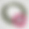 Collier tour de cou crocheté avec feuilles et fleur rose, collier textile au crochet
