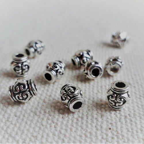 Lot 10 perles ethniques-argent-perles du monde-perlen-beads