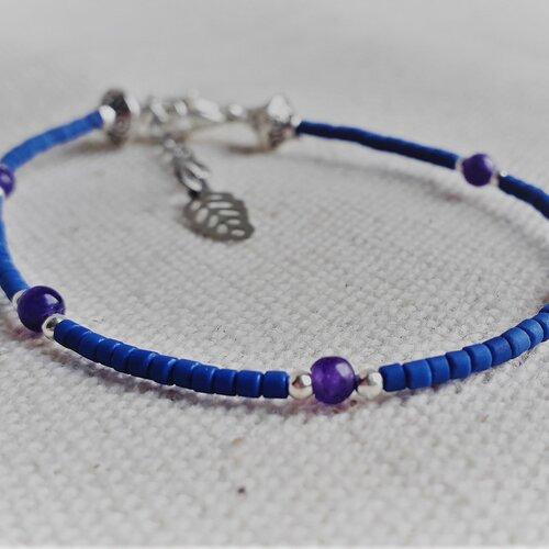 Bracelet lapis lazuli améthyste argent en pierre fine-bijoux ethnique pierre argent