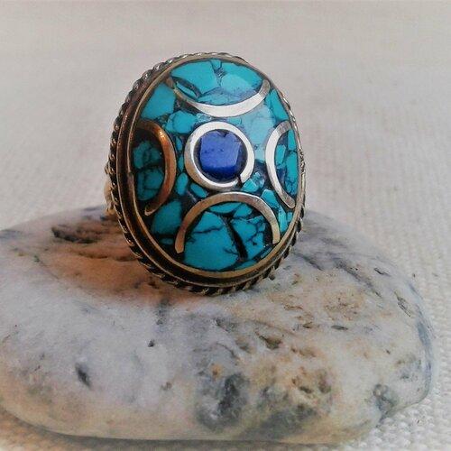 Bague ethnique pierres fines népal tibet-bague turquoise lapis lazuli-bague boho