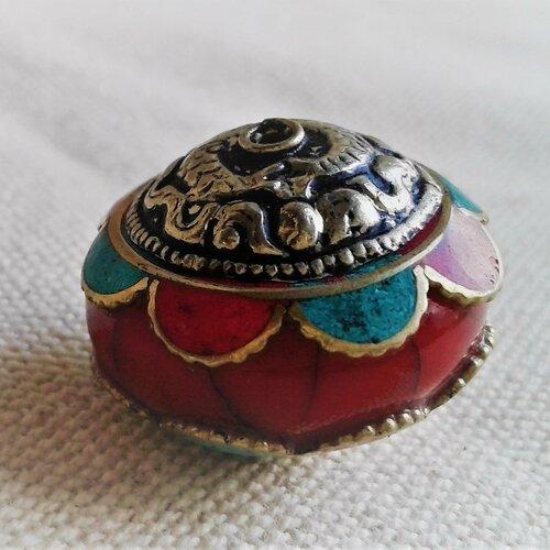 Perle ethnique -népal tibet-perle pierre-perle du monde-grande perle rouge pierre