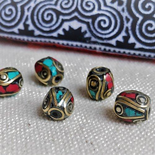 Lot 5 perles ethniques-népal tibet-turquoise corail-perles du monde