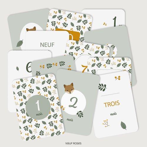 Cartes étapes bébé première année - renard