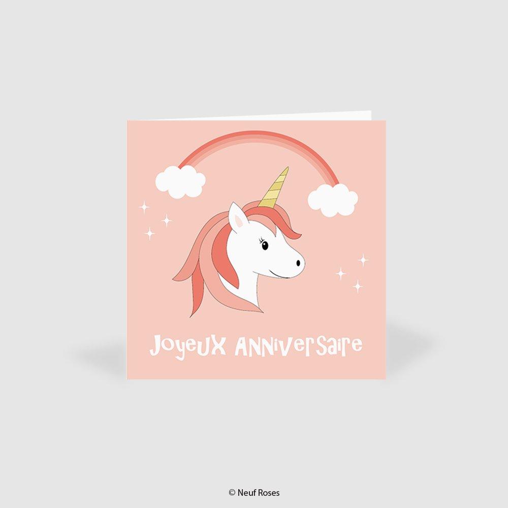 carte / pochette cadeau anniversaire - licorne