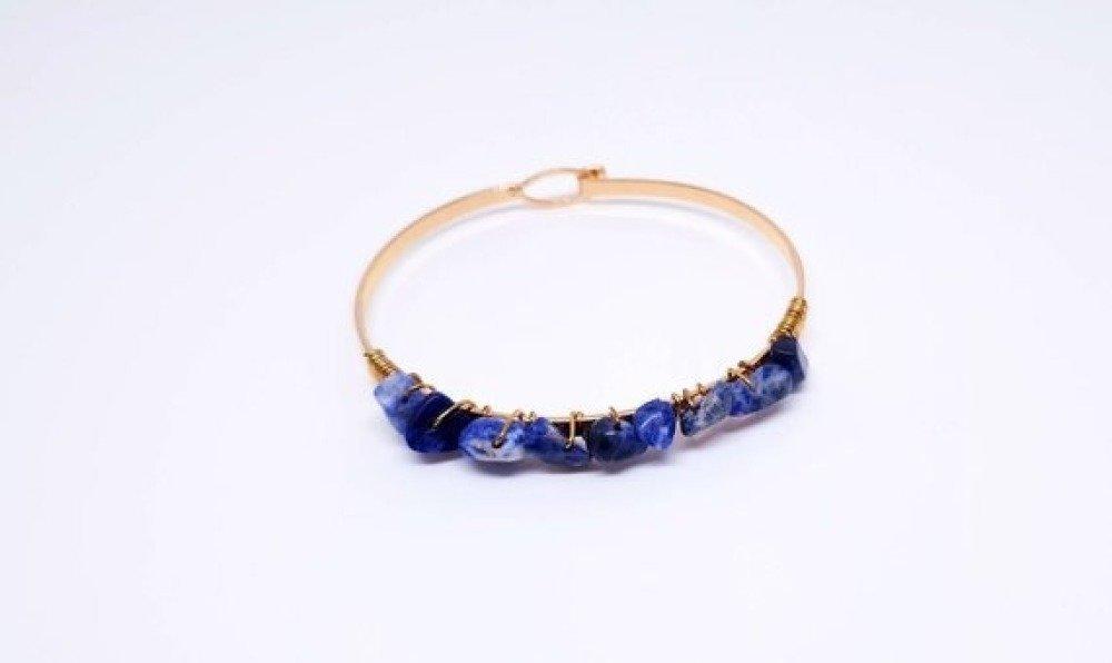 Bracelet jonc or pierre semi precieuse tree agate bleu