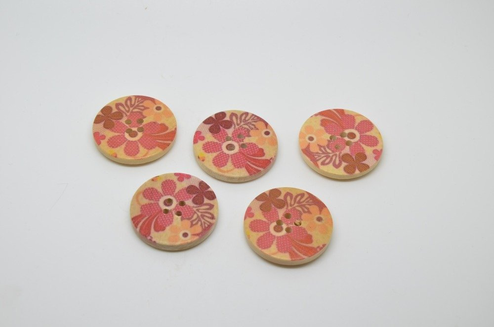 5 boutons en bois imprimés fleurs - 30mm - rouge, bordeaux