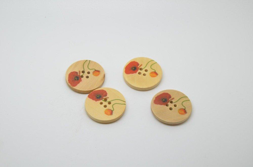 4 boutons en bois imprimé motifs coquelicots - 30mm- rouge, orange