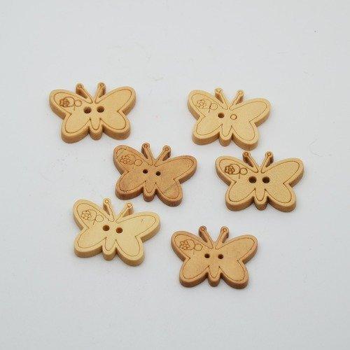 6 boutons papillon en bois brut pour enfants