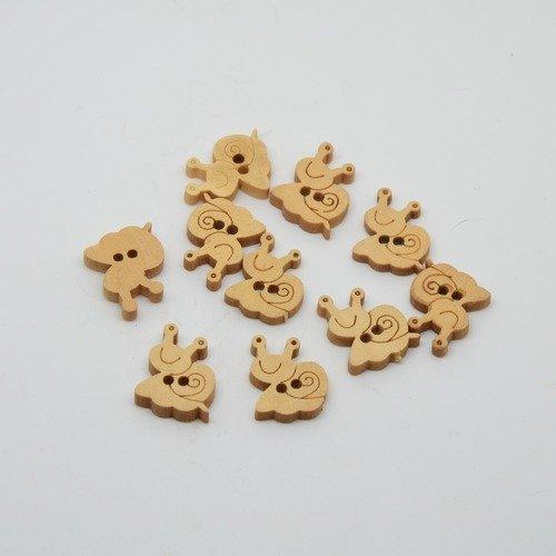 10 boutons escargot en bois brut pour enfants