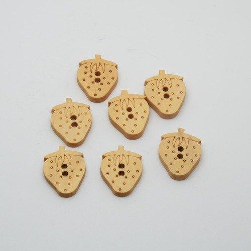 7 boutons fraise en bois brut pour enfants