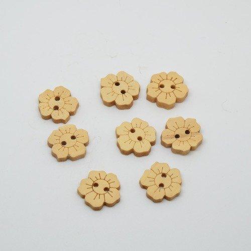 8 boutons fleur en bois brut pour enfants