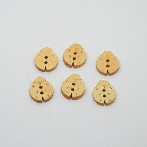 6 boutons coccinelle en bois brut pour enfants