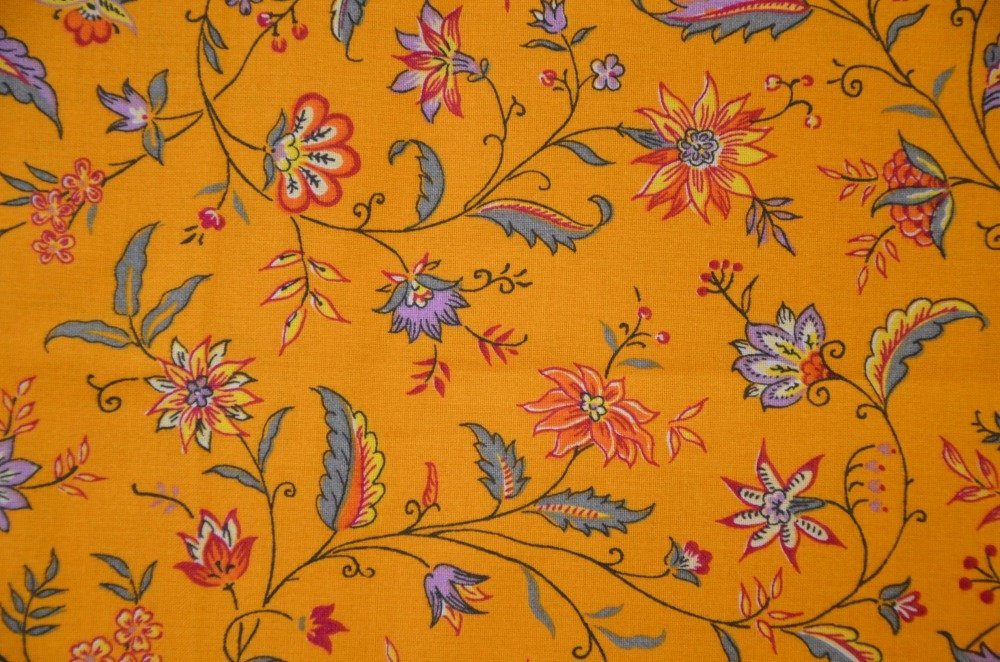 110cm de tissu provençal - laize 160cm - multicolore, jaune orangé