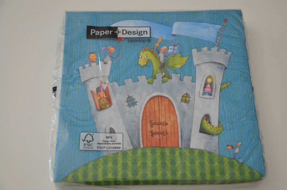 20 serviettes en papier motifs enfantin château fort - turquoise, gris