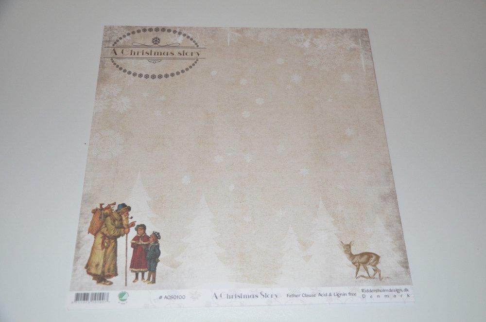 5 feuilles de papier pour scrapbooking - thème Noël vintage