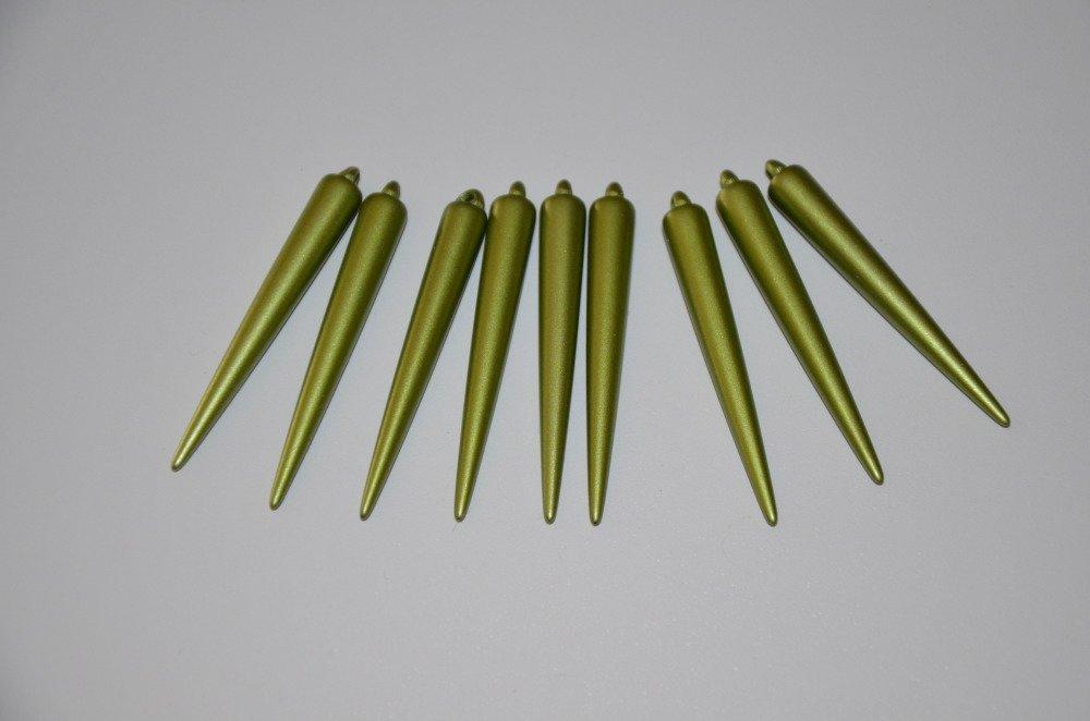 9 breloques cônes/piques en acrylique - vert