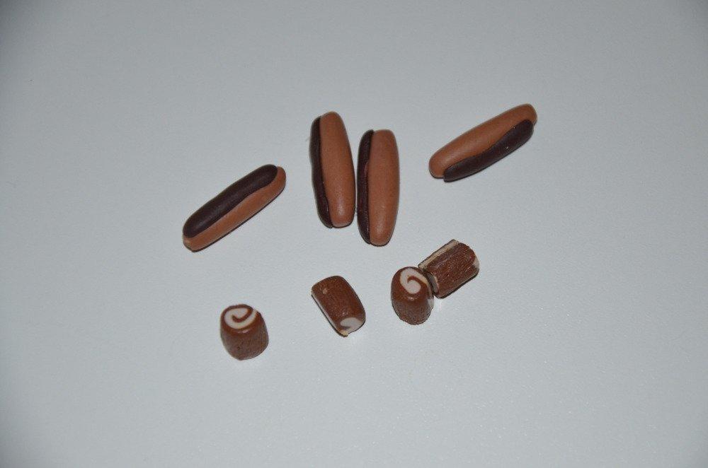 8 déco pâtisseries au chocolat en pâte Fimo