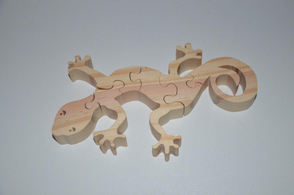 puzzle salamandre/lézard en bois brut à décorer - 6 pièces