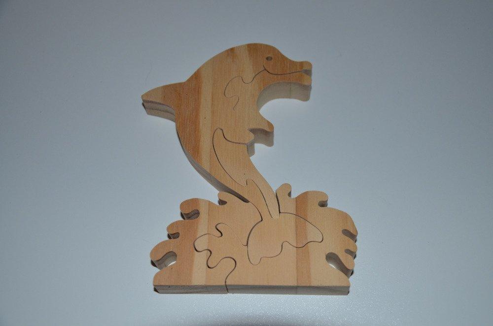 puzzle dauphin en bois brut à décorer - 5 pièces