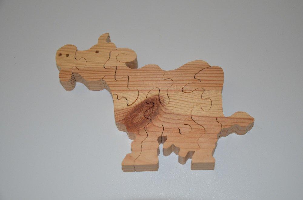 puzzle vache en bois brut à décorer - 6 pièces