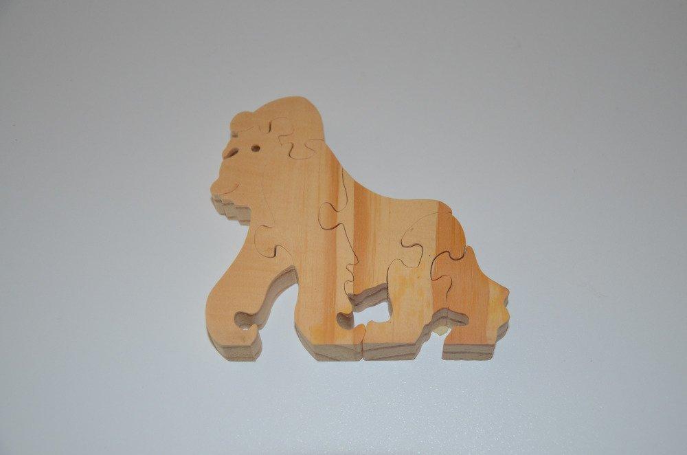 puzzle gorille en bois brut à décorer - 6 pièces