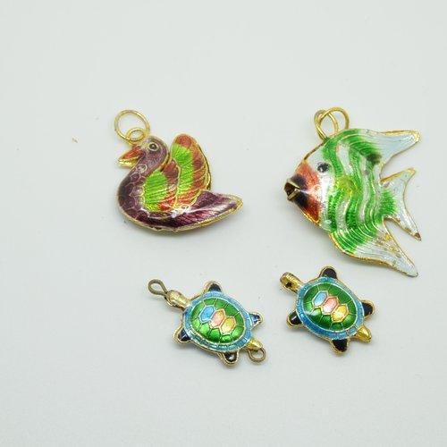 4 perles cloisonnées animaux - multicolore - 20 à 25mm