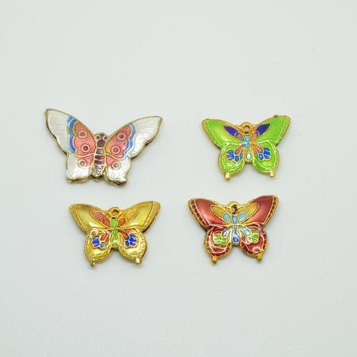 4 perles cloisonnées papillons - multicolore - 20 à 27mm