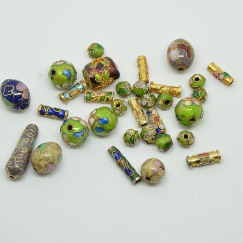 32 perles cloisonnées rondes, olives, tubes - multicolore - 5 à 20mm