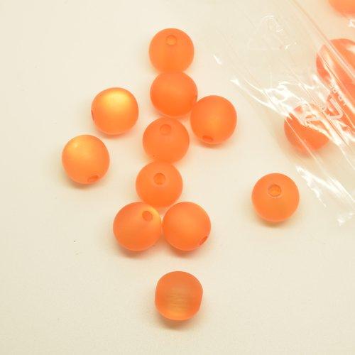 18 perles en verre polaris - orange - 11,5mm