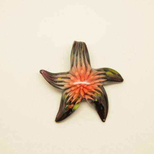 Superbe pendentif étoile de mer/fleur en verre - prune, rose - 42x45mm