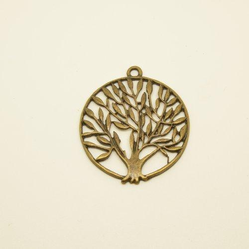 Pendentif médaillon arbre - bronze - 37mm