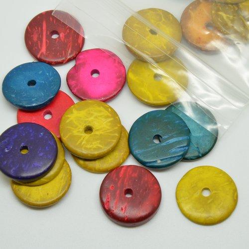 40 perles rondelles de coco - multicolore - 20mm