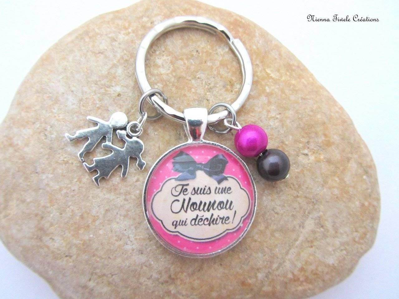 Porte clé personnalisé femme, accessoire sac, cadeau nounou, fait main