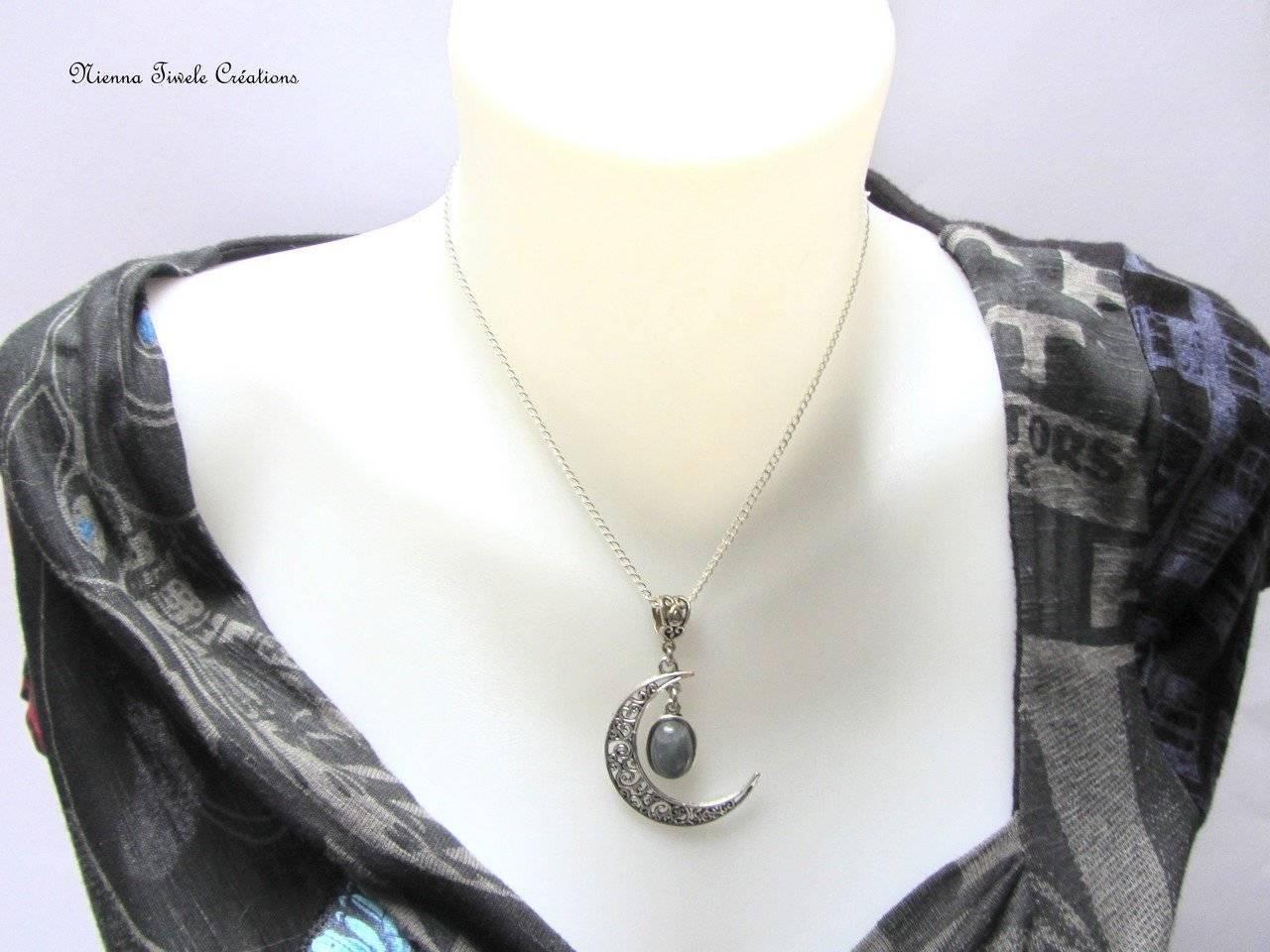Collier lune pierre Labradorite, plaqué argent, femme, fait main
