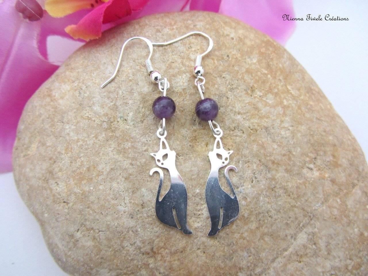 Boucle d'oreille pendante, argent améthyste, pierre, chat, violette, femme