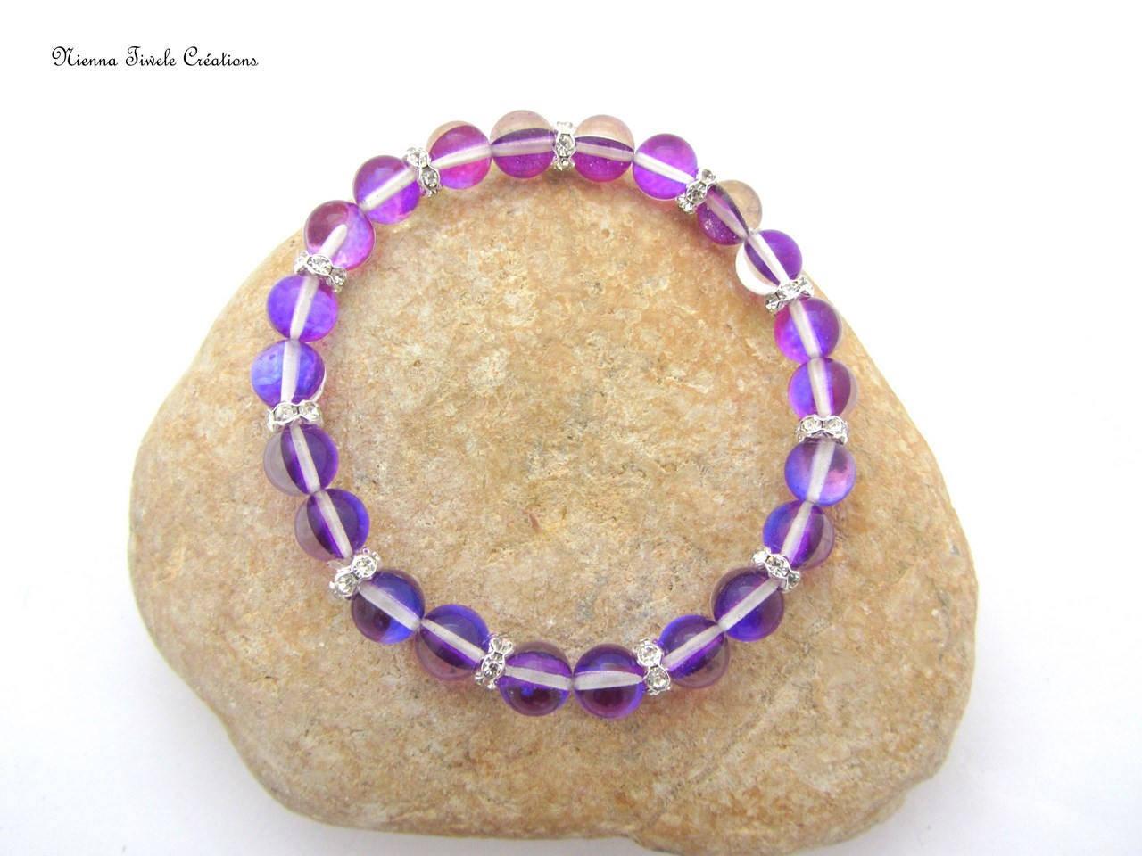 Bracelet élastique femme, pierre naturelle, aqua aura, violet, fait main