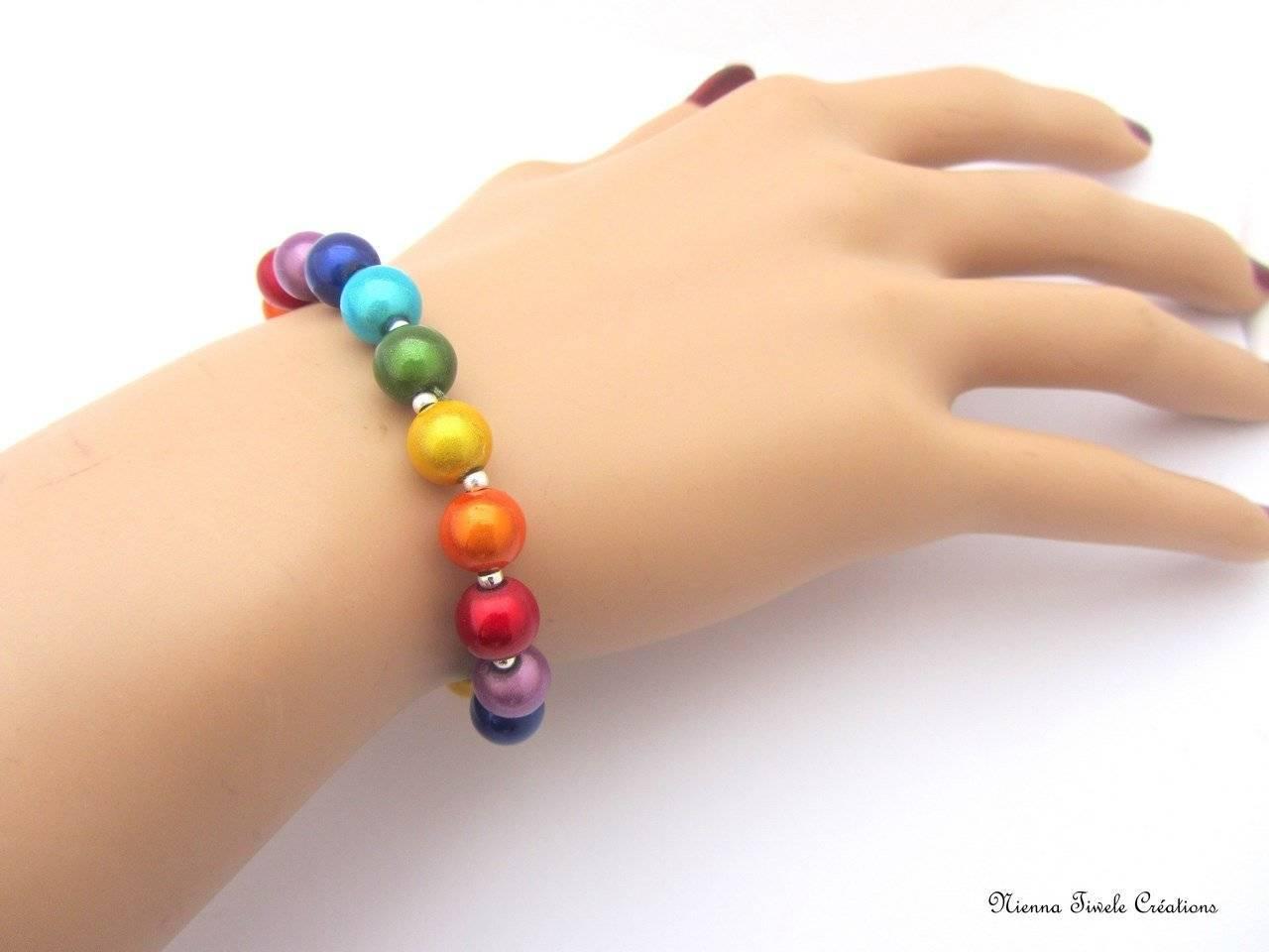 Bracelet élastique multicolore, fait main, couleur chakra
