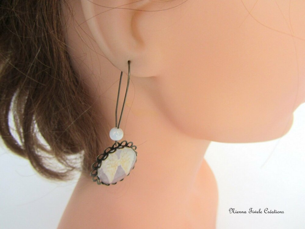Boucle d'oreille longue femme, bronze verre, aile d'ange, fait main