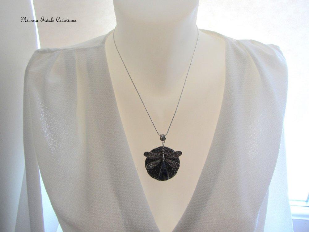 Collier libellule pietersite, pierre gemstone, créativité ancrage, pièce unique, femme, fait main