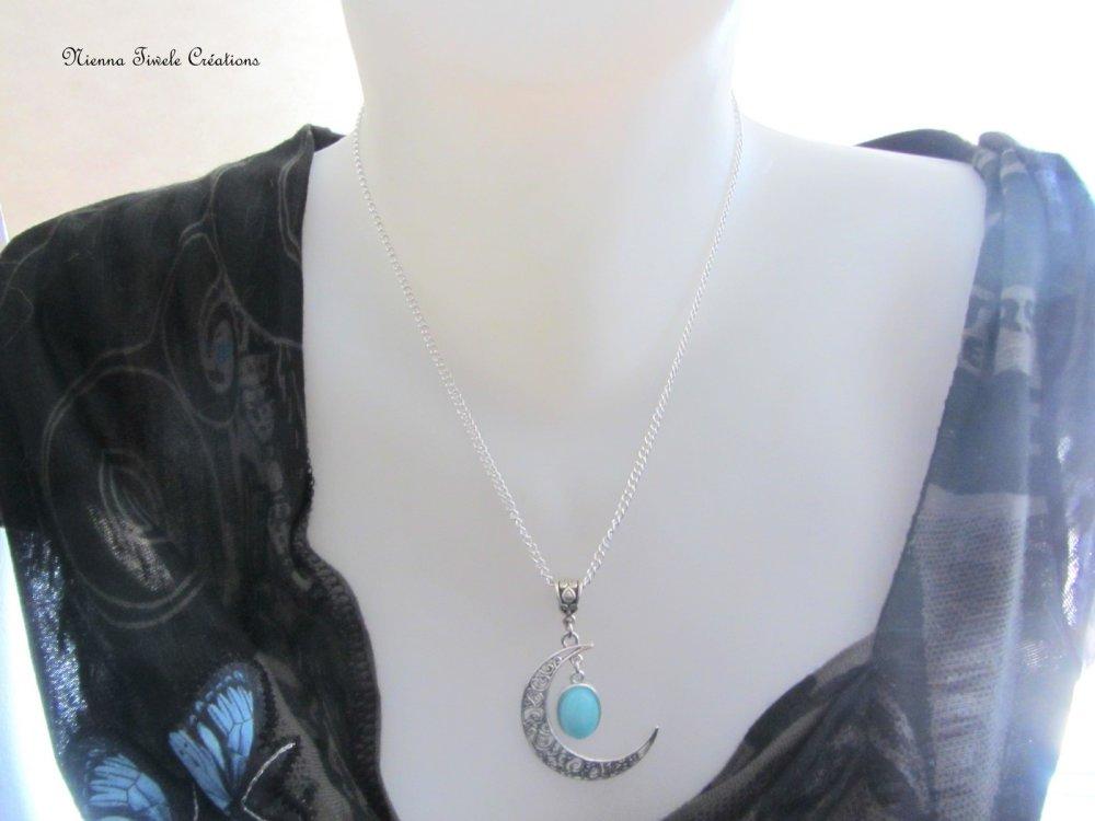Collier lune pierre amazonite, elfique féerique, femme, fait main