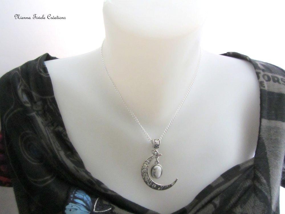 Collier lune pierre howlite, elfique féerique, femme, fait main