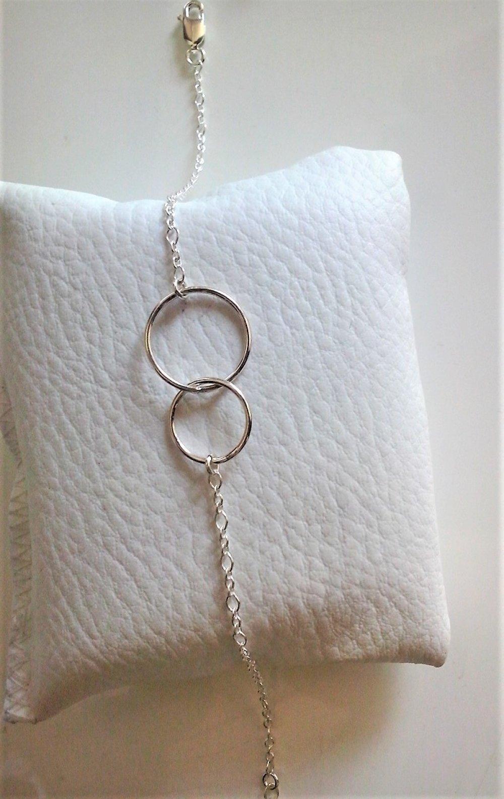 Bracelet double anneaux chaine argent
