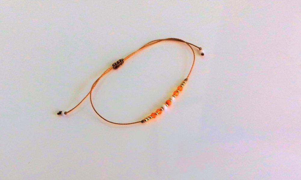 Bracelet petit prix perles oranges