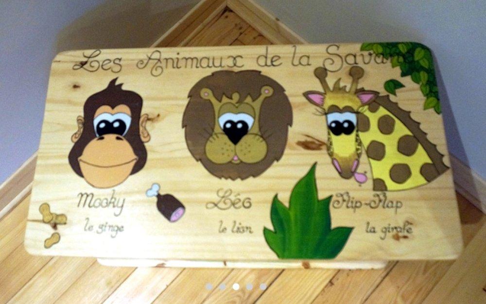 "Coffre à jouets en bois - modèle ""Savane"" - Les Nimoz"