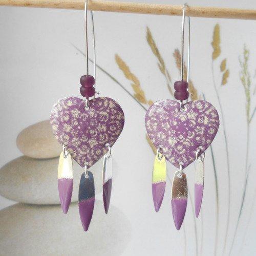 Boucle d'oreille coeur émaillé violet ivoire sequin émaillé violet