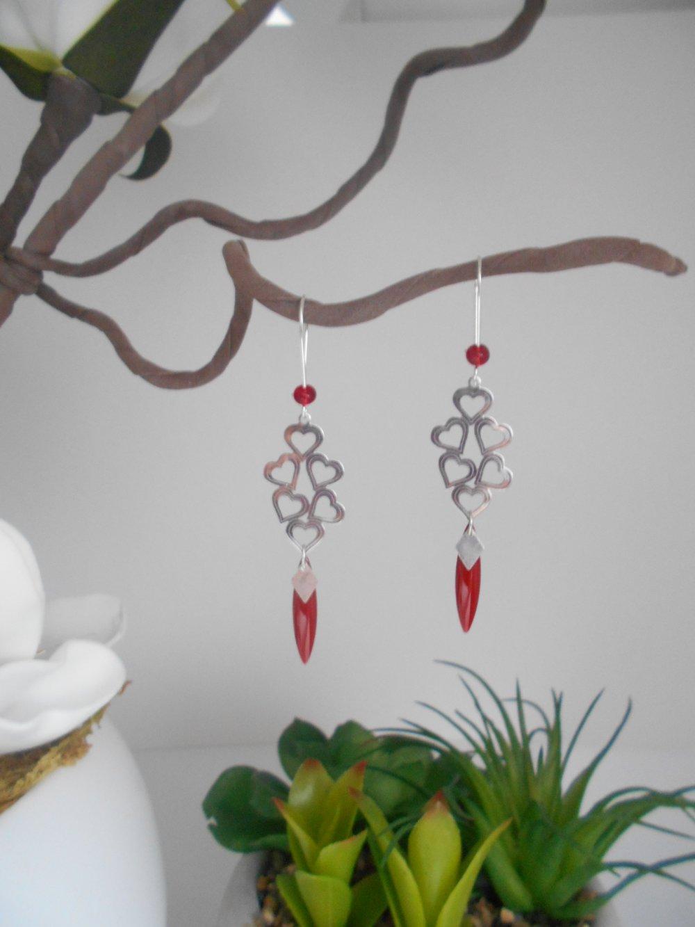 boucles d'oreille estampe coeur acier inoxydable,sequin rouge foncé