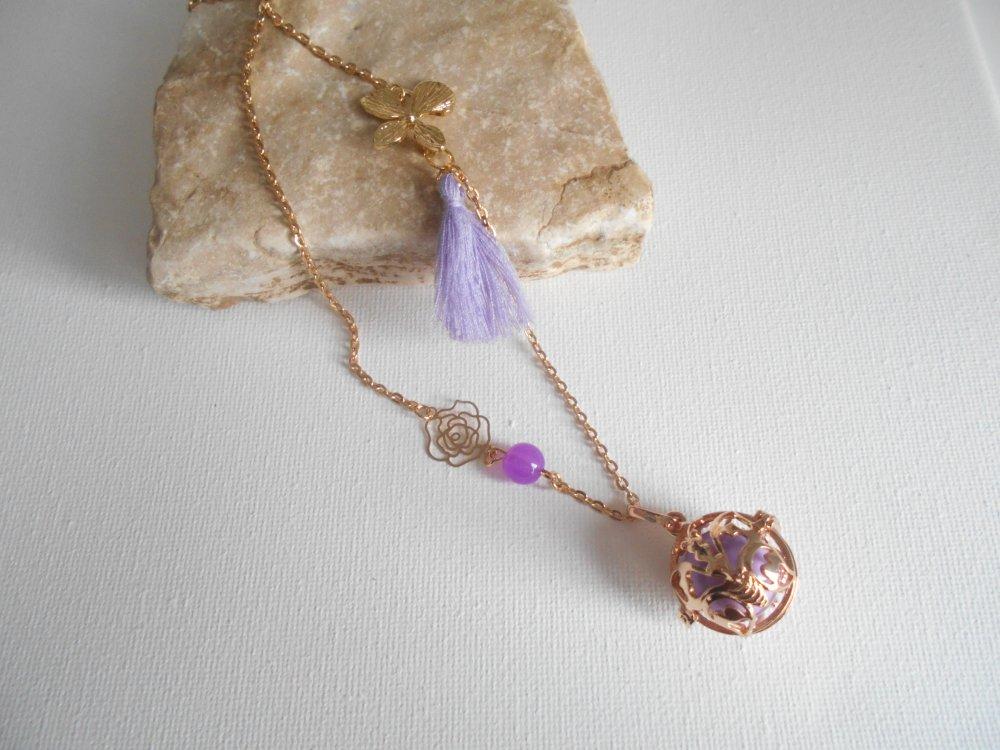collier Bola de grossesse cage chaine doré acier inoxydable pompon violet boule  violet/parme