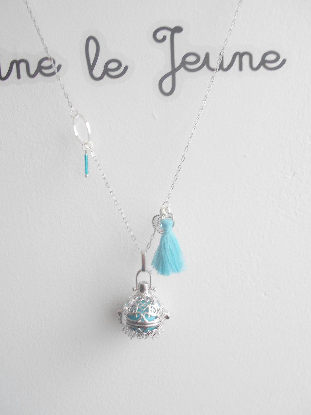 collier Bola de grossesse cage chaine acier inoxydable pompon bleu boule bleu/vert