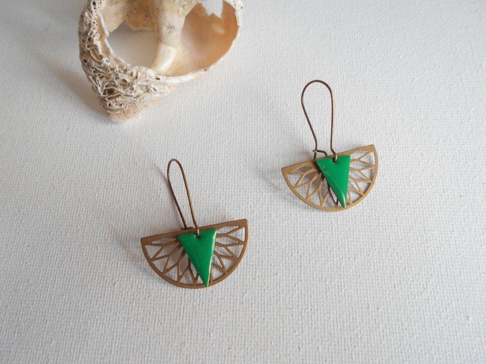 boucle d'oreille pendentif bronze sequin vert