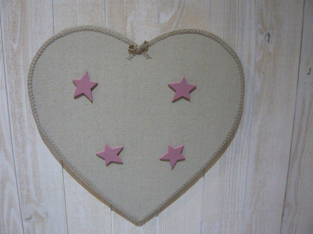 Pèle mêle magnétique cœur en lin aimants étoiles roses